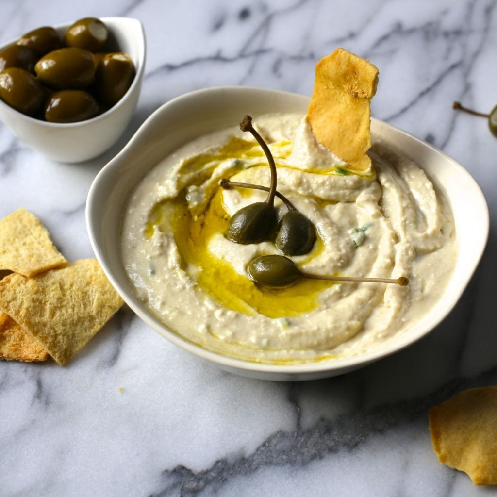 White Bean, Roasted Garlic and Feta Dip