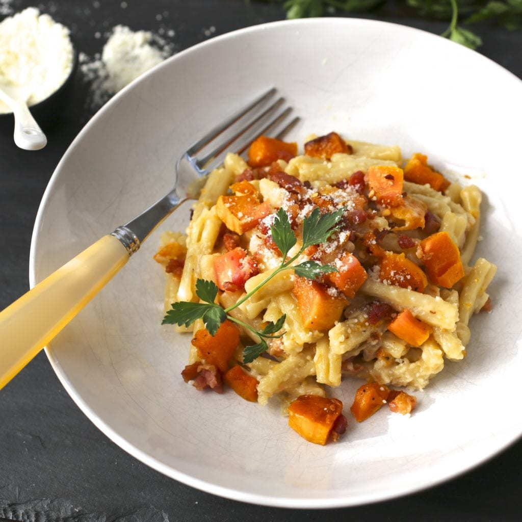 Pasta With Butternut Squash and Bacon
