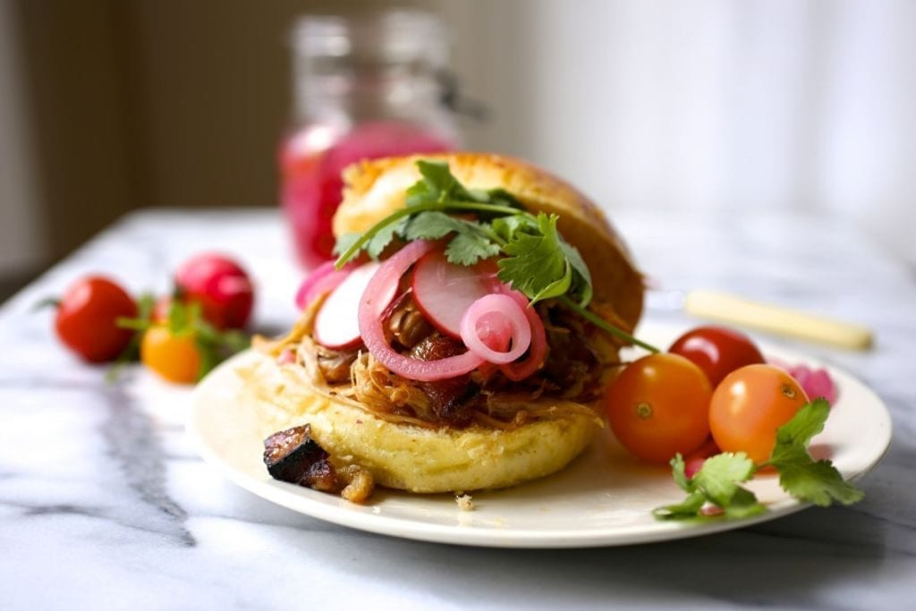 Pulled-Pork Sandwich with Pickled Onions and Radishes
