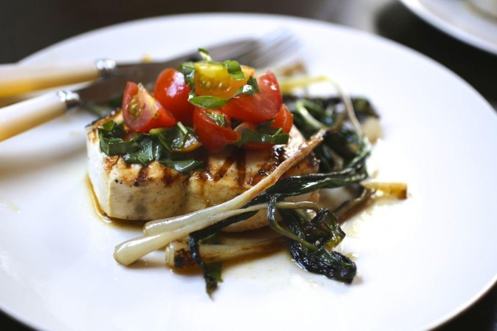 Grilled Swordfish, Fresh Tomato Relish and Sautéed Ramps