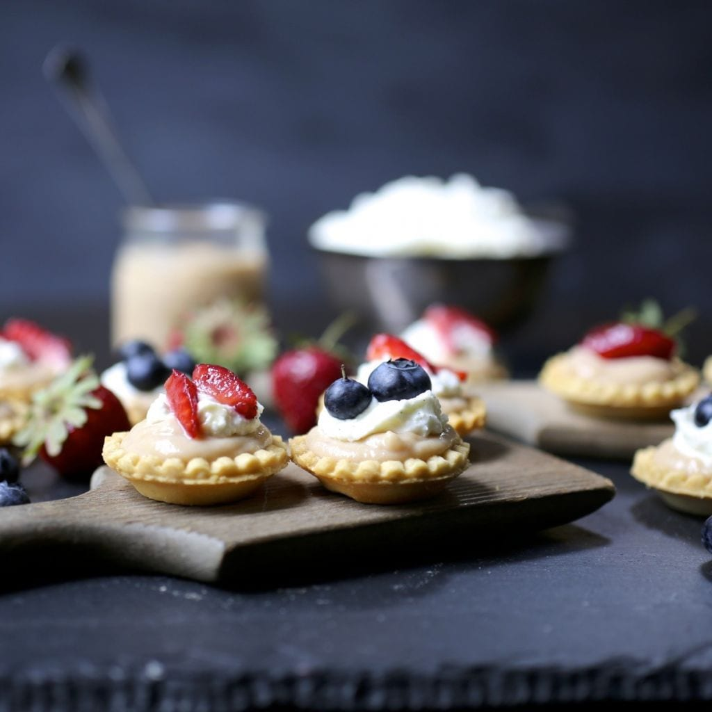 Rhubarb Curd Tartlets with Whipped Mascarpone and Berries
