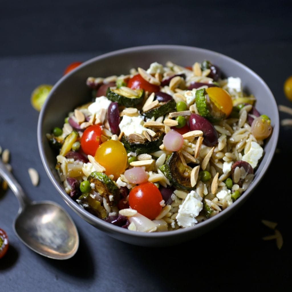 Orzo Salad with Zucchini, Olives and Feta