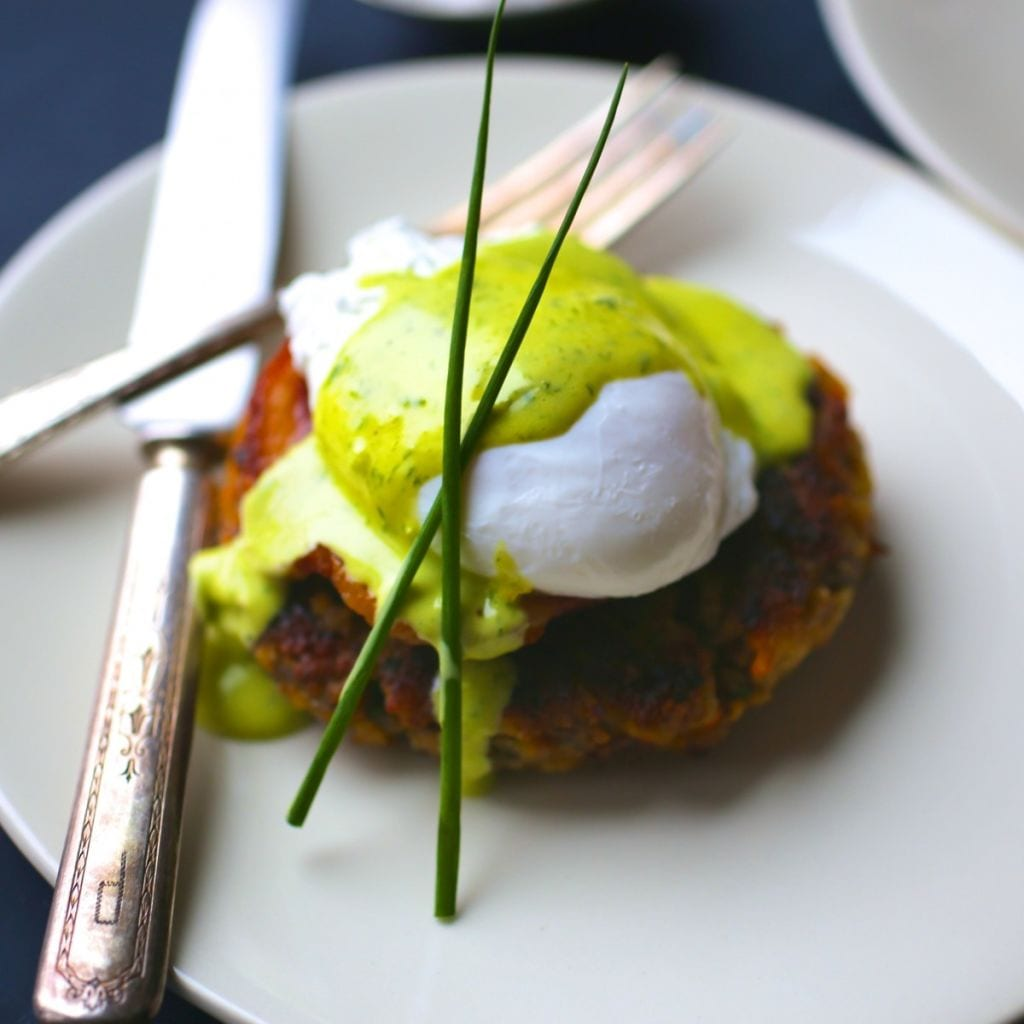 Stuffing Cakes with Poached Eggs and Chive Hollandaise