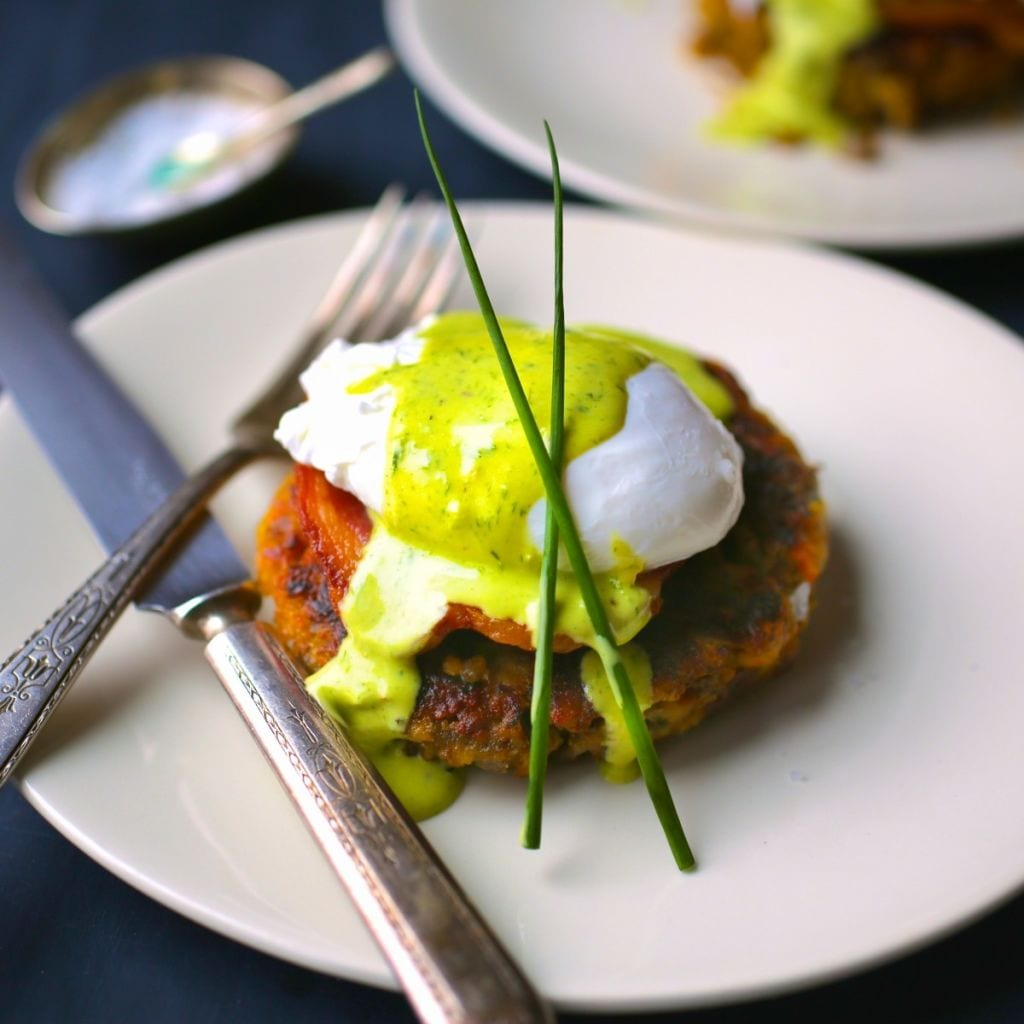 Stuffing Cake Benedict with Chive Hollandaise