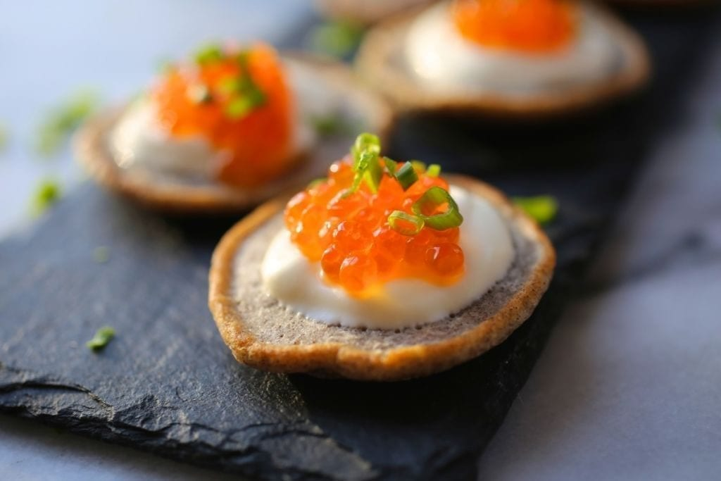 Buckwheat Blinis with Salmon Roe and Crème Fraîche