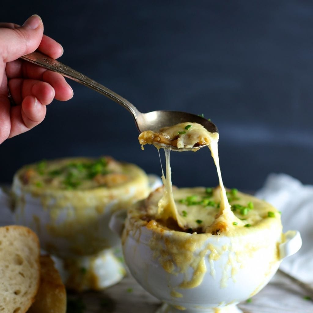 French Onion Soup with Garlic Butter Croutons