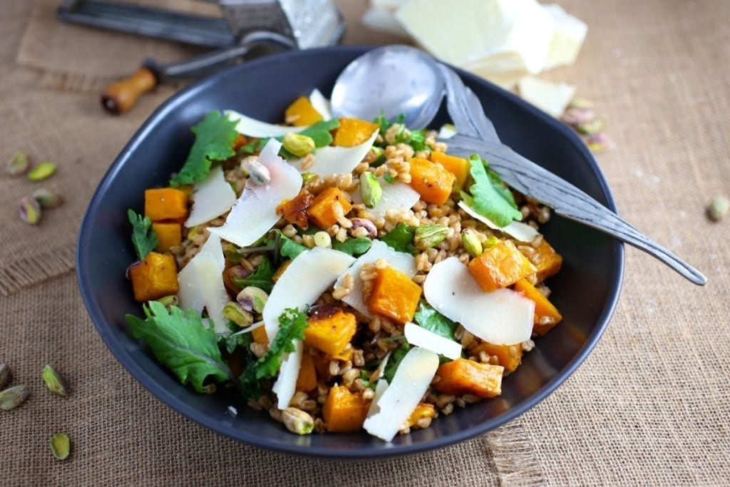 Farro Salad with Butternut Squash, Pistachios and Parmesan