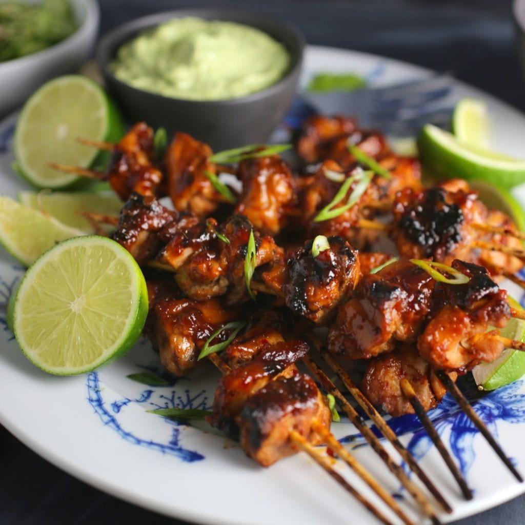 Spicy Asian Chicken Skewers with Creamy Avocado-Cilantro Sauce