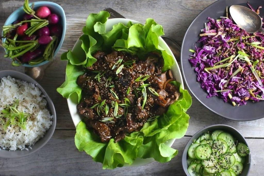 Bulgogi (Korean Marinaded Beef) Lettuce Wraps