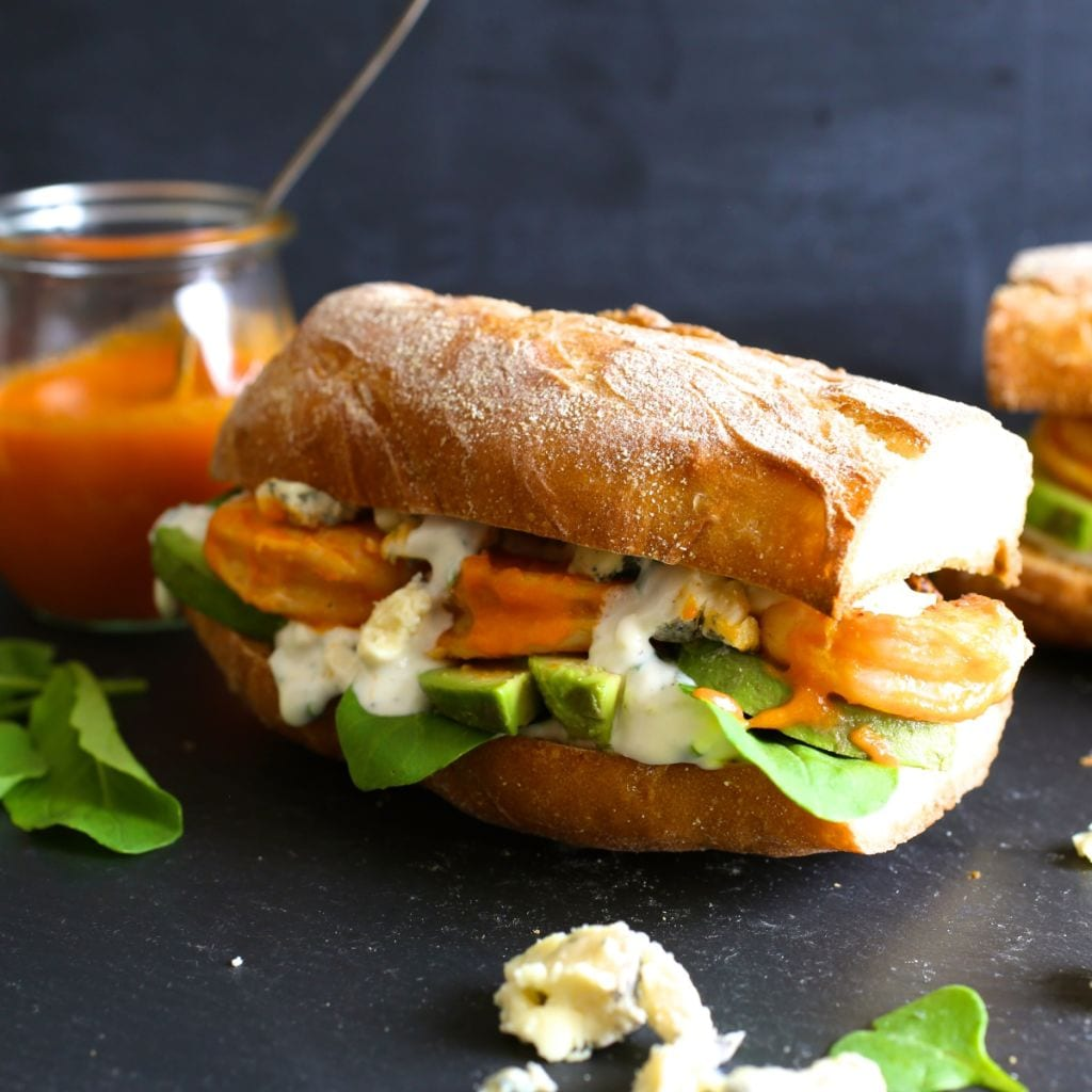 Grilled Buffalo Shrimp and Avocado Sandwiches with Blue Cheese Sauce