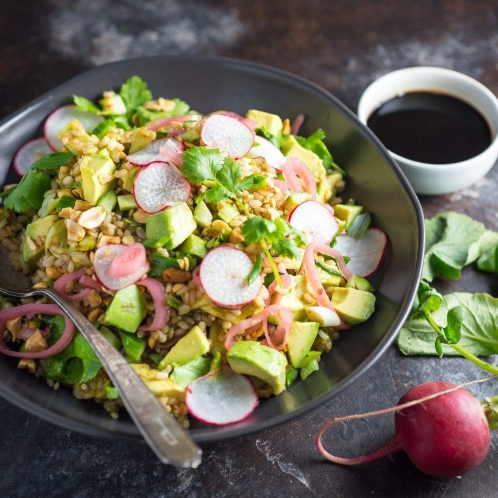 Teriyaki Brown Rice Salad with Avocado and Radishes