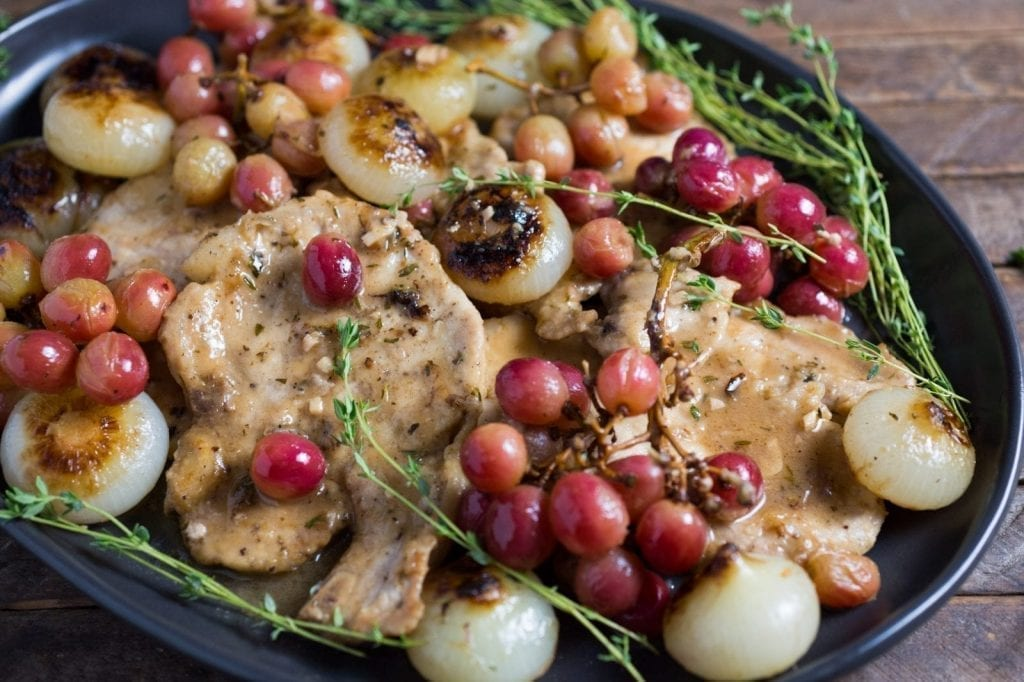 Smothered Pork Chops with Cippolini Onions and Grapes