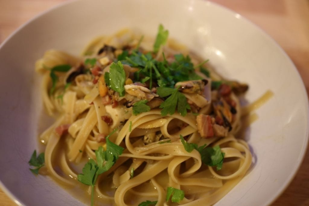 Linguini with leftover mussels and clams