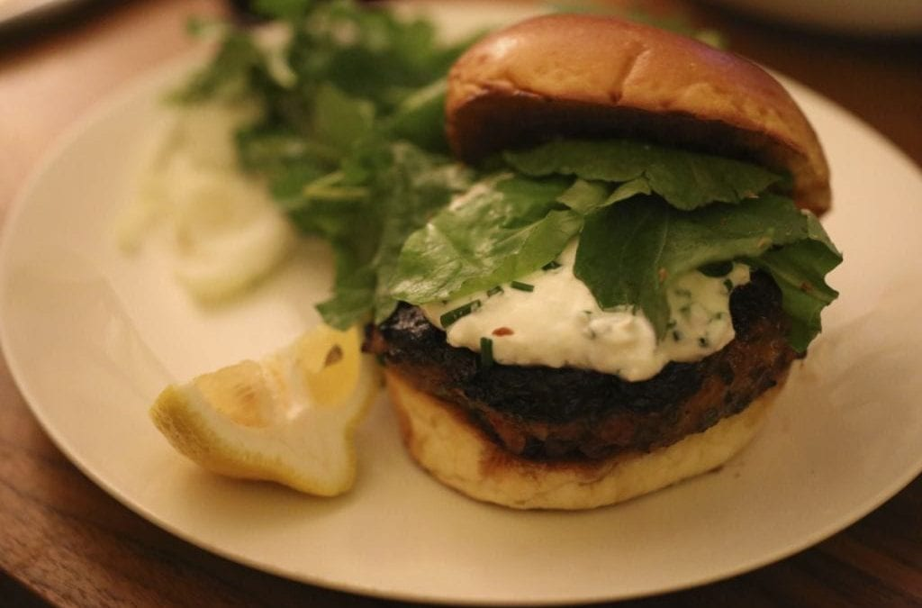 Herbed Lamb Burgers with Feta-Yogurt Sauce