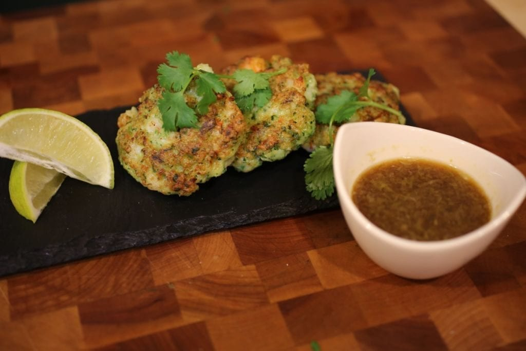 Vietnamese dipping sauce with shrimp cakes