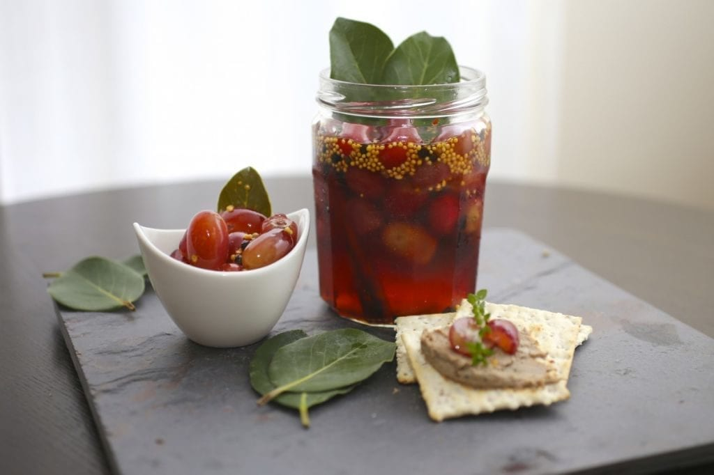 Chicken Liver Pâté with Thyme and Brandy and Spiced Pickled Grapes