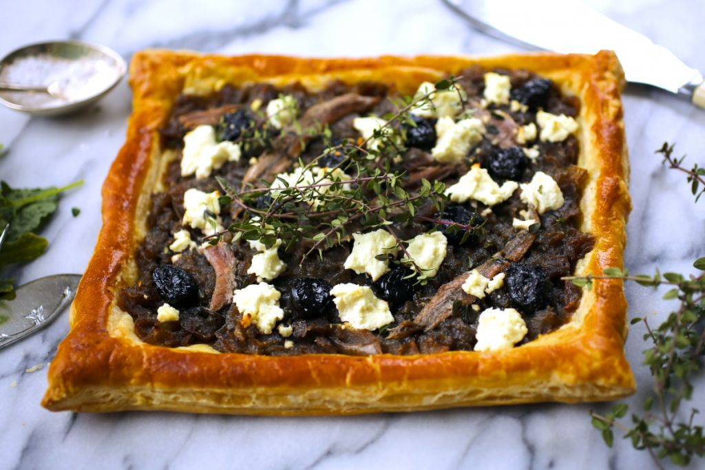 Caramelized Onion, Olive and Goat Cheese Tart | Nerds with Knives