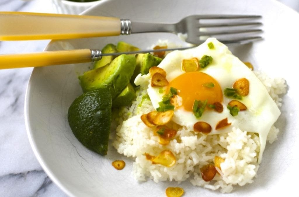 Garlic Fried Rice with Eggs and Chile Vinegar