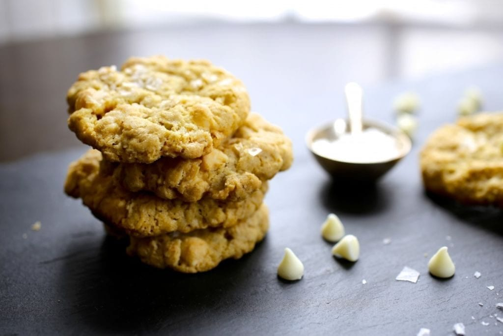 Sea Salt, Oatmeal and White Chocolate Cookies