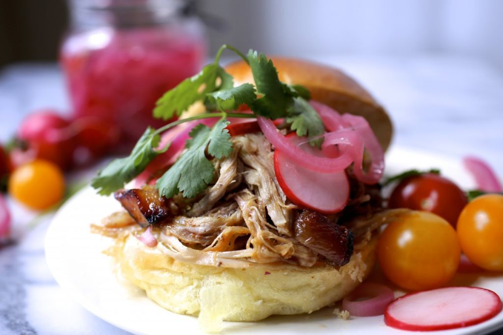 Pulled-Pork Sandwich with Pickled Onions and Radishes ...