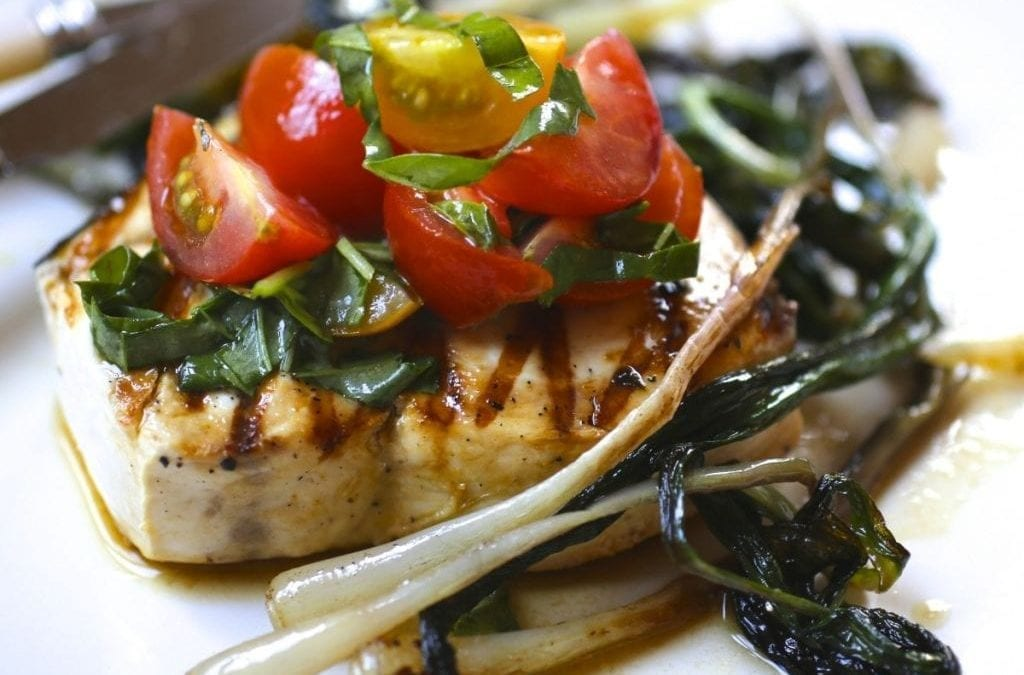 Grilled Swordfish, Fresh Tomato Relish and Sautéed Ramps