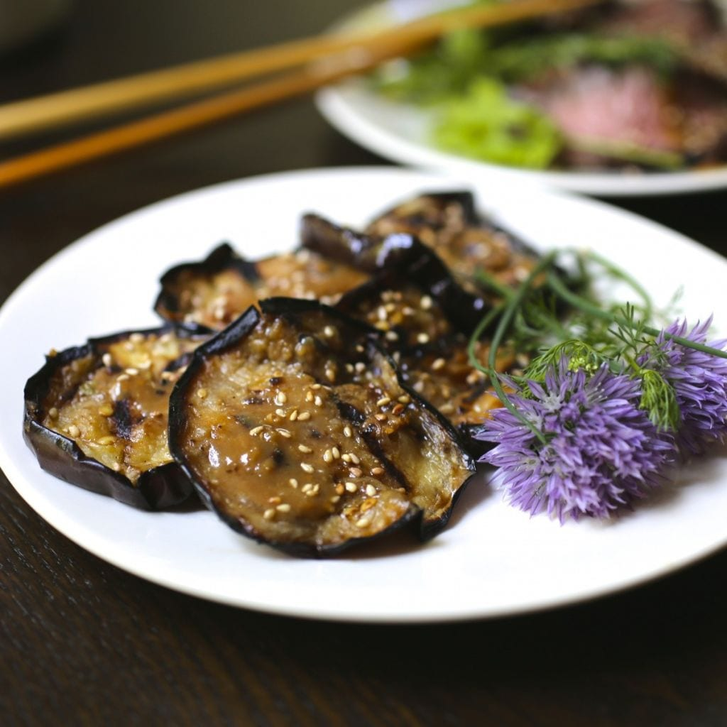 eggplant – or aubergine – is kicked up with a miso ginger glaze ...