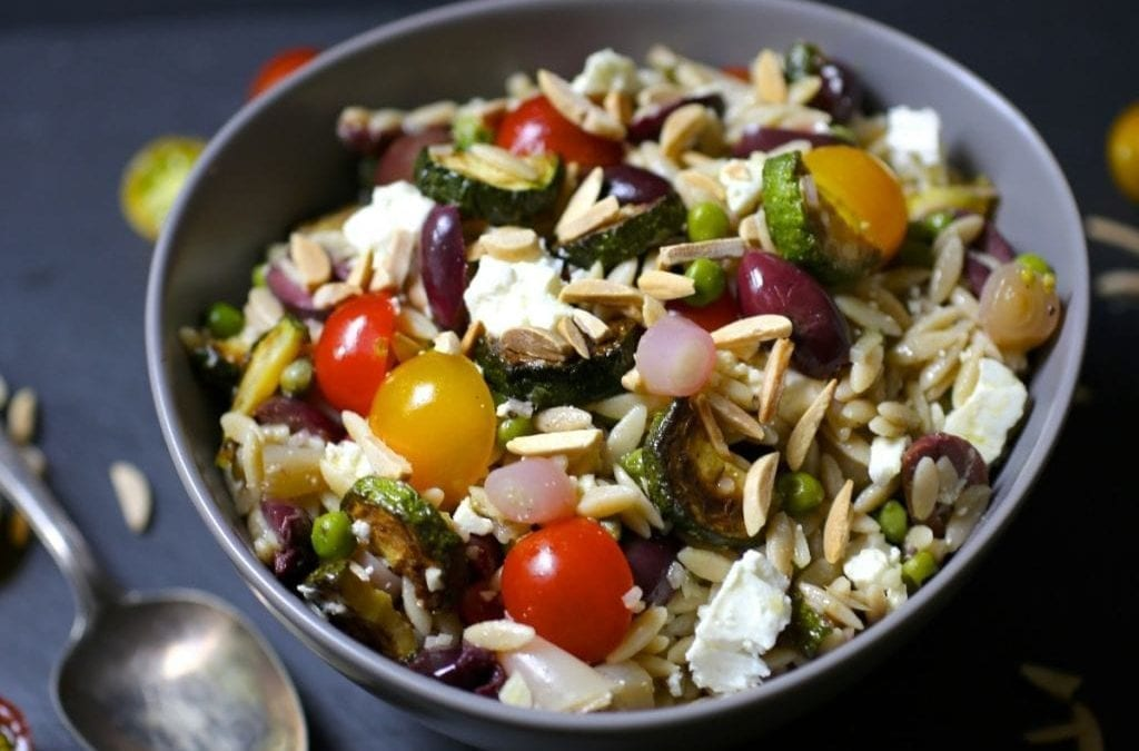 Orzo Salad with Zucchini, Tomatoes, Olives and Feta