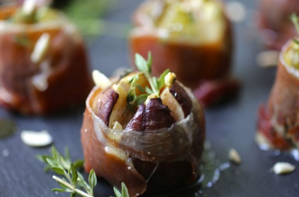 Roasted Figs Stuffed with Blue Cheese and Serrano Ham