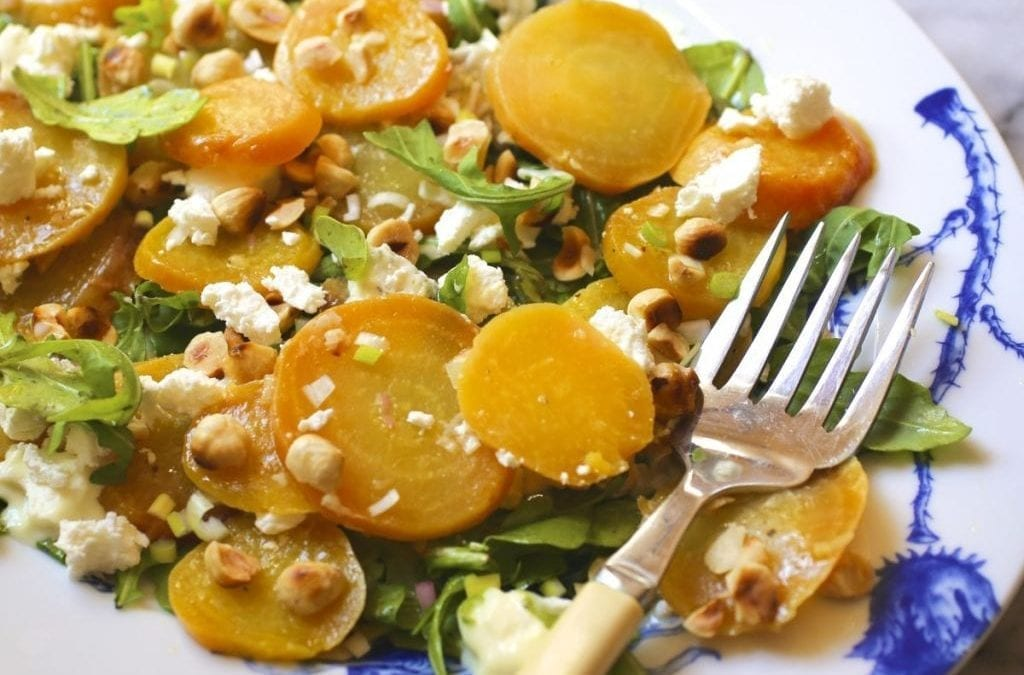 Roasted Beet Salad with Hazelnuts and Goat Cheese