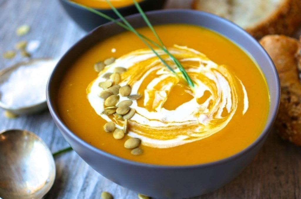 Curried Butternut Squash and Apple Soup with Maple Cream