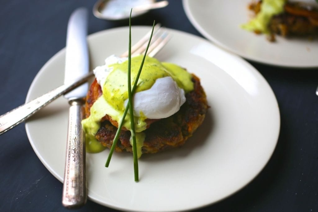 Thanksgiving recipes: Stuffing Cakes with Poached Eggs and Chive Hollandaise