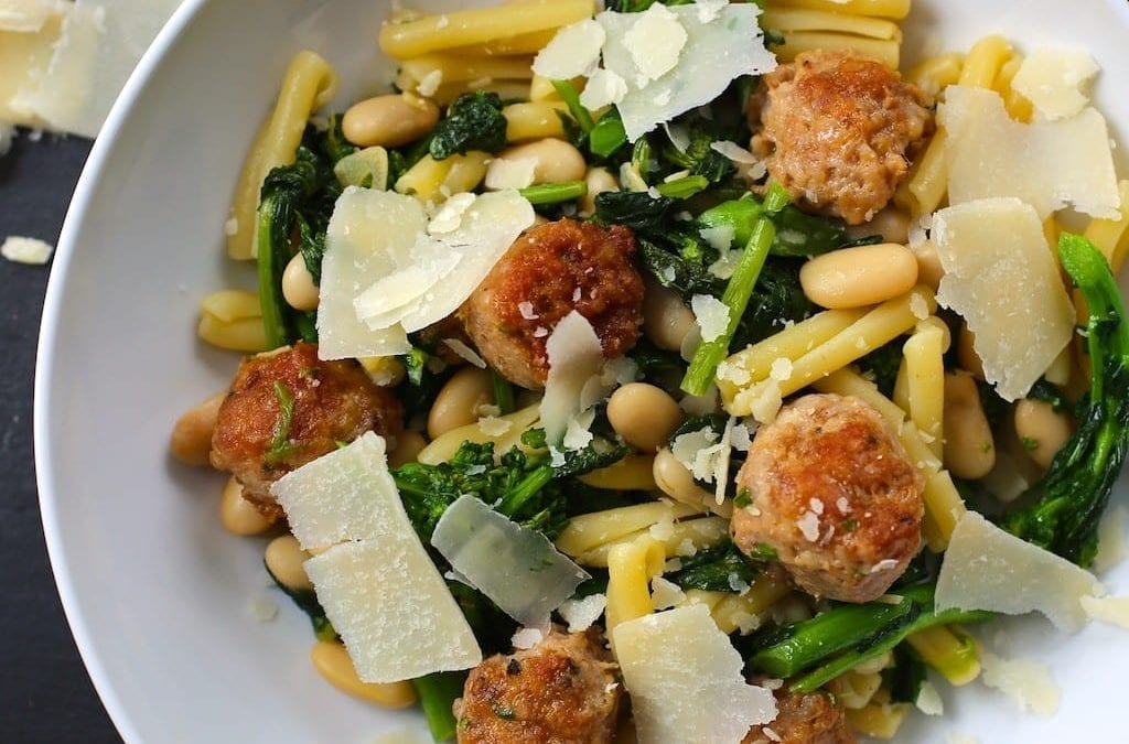 Pasta with Sausage, Broccoli Rabe and White Beans
