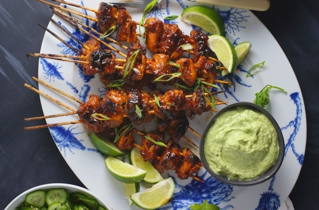 Spicy Asian Chicken Skewers with Creamy Avocado-Cilantro Sauce