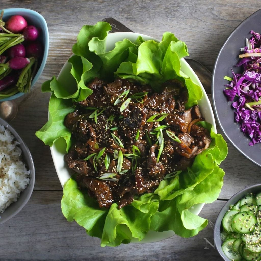 Bulgogi (Korean Marinaded Beef) Lettuce Wraps