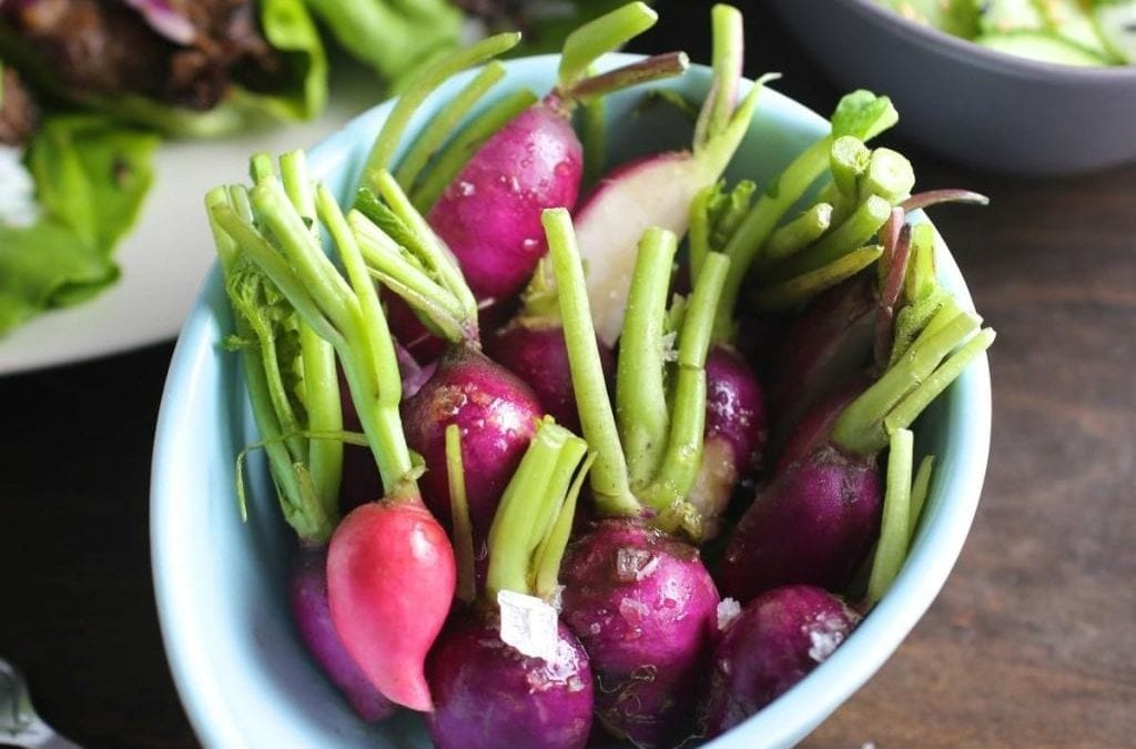 Radishes Drizzled with Sesame Oil and Maldon Salt