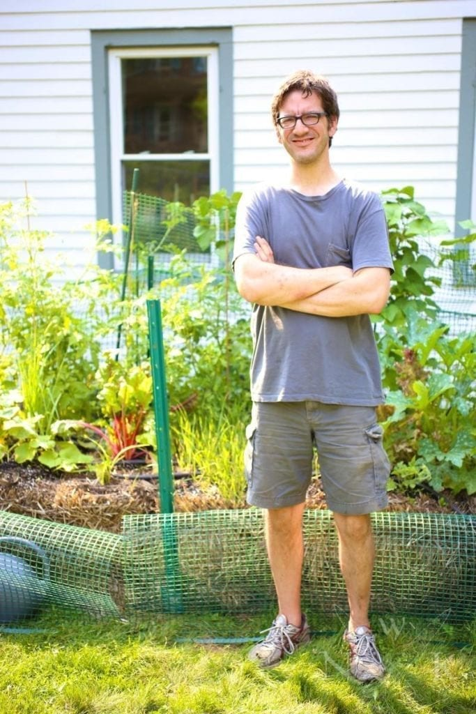 Proud Matt with straw bale garden.