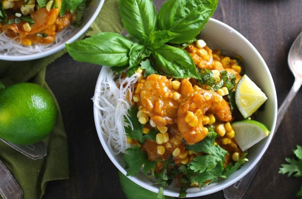 Shrimp and Corn Coconut Curry with Noodles