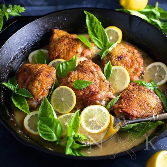 Chicken with Lemon, Garlic and Basil
