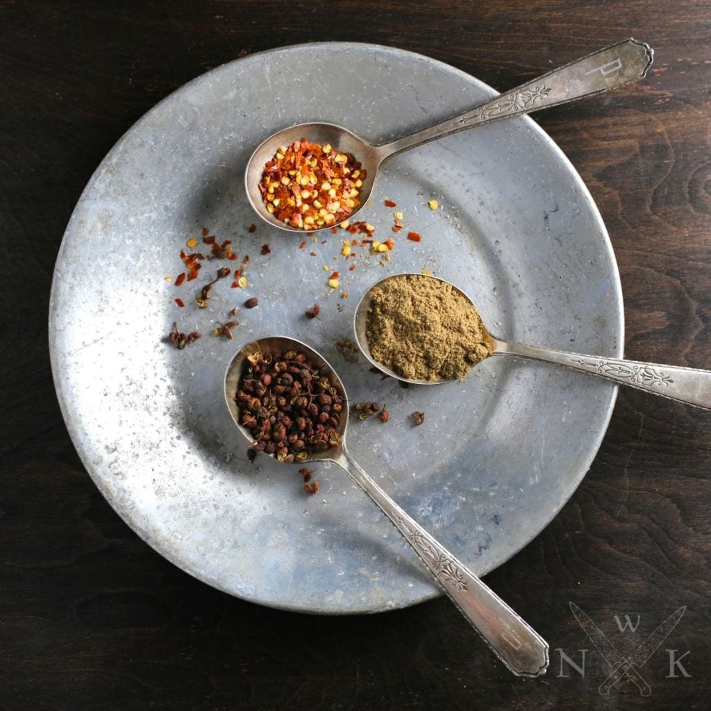 Sichuan peppercorns, Cumin and Red Chili Flakes