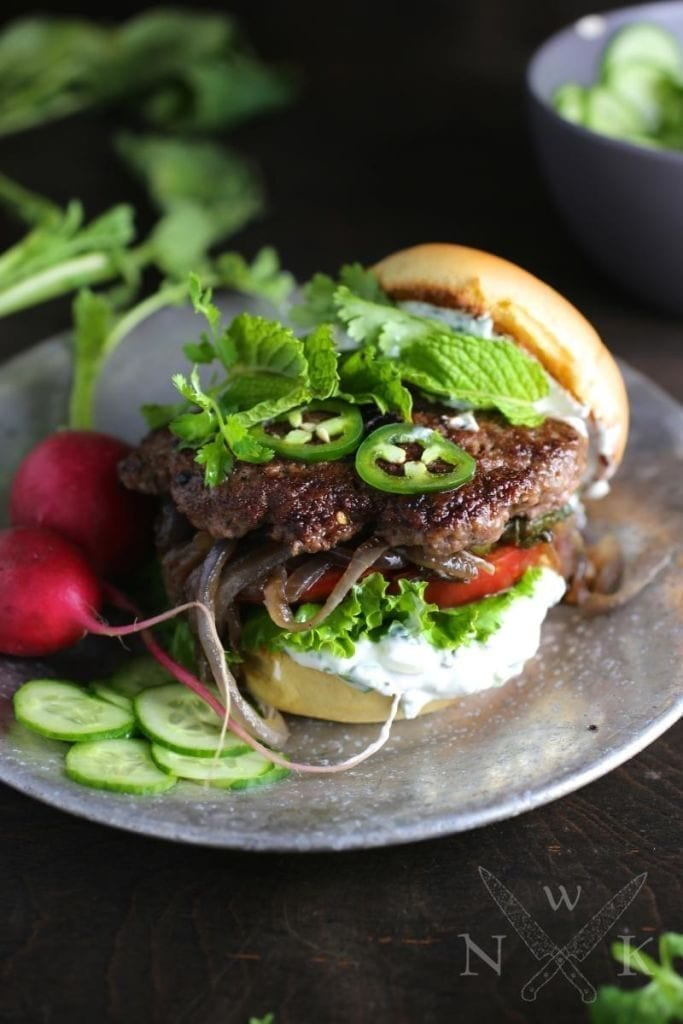 Xi'an-style Smashed Cumin Lamb Burgers with Creamy Herb Sauce
