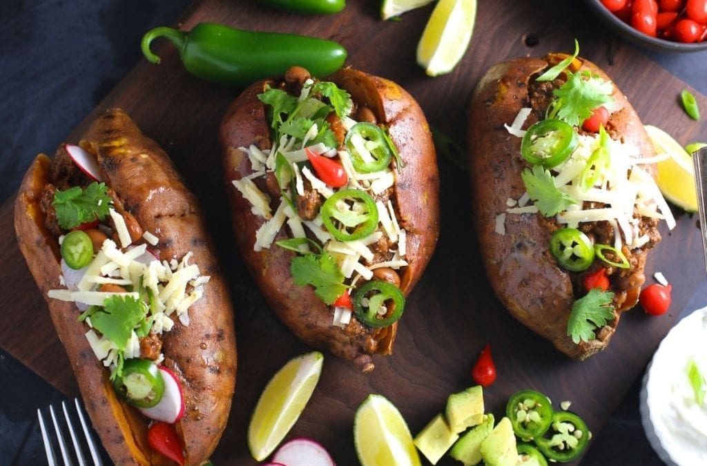 Spicy Chili Stuffed Sweet Potatoes