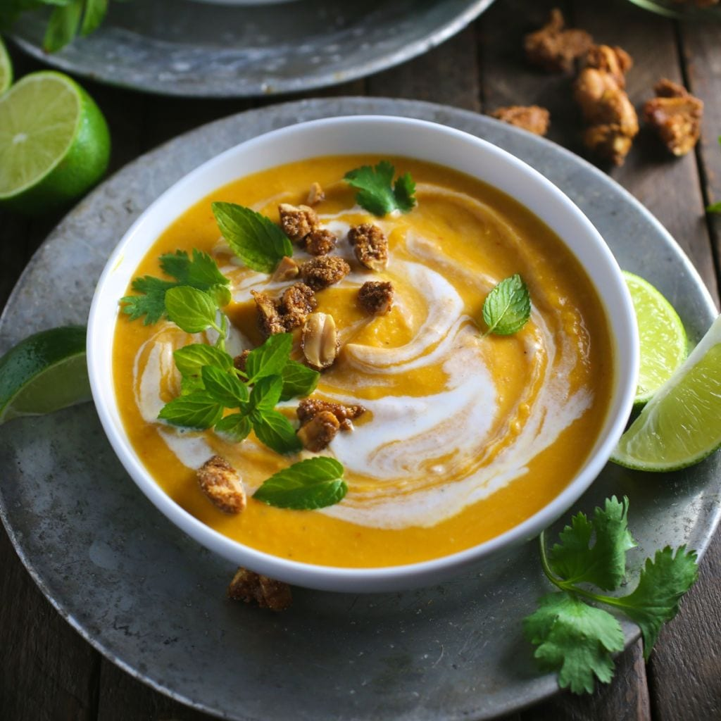 Thai Coconut Curry Butternut Squash Soup - Nerds with Knives