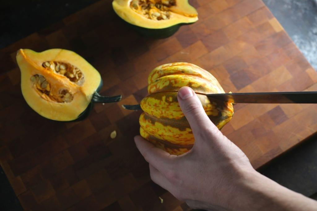 Cutting acorn squash