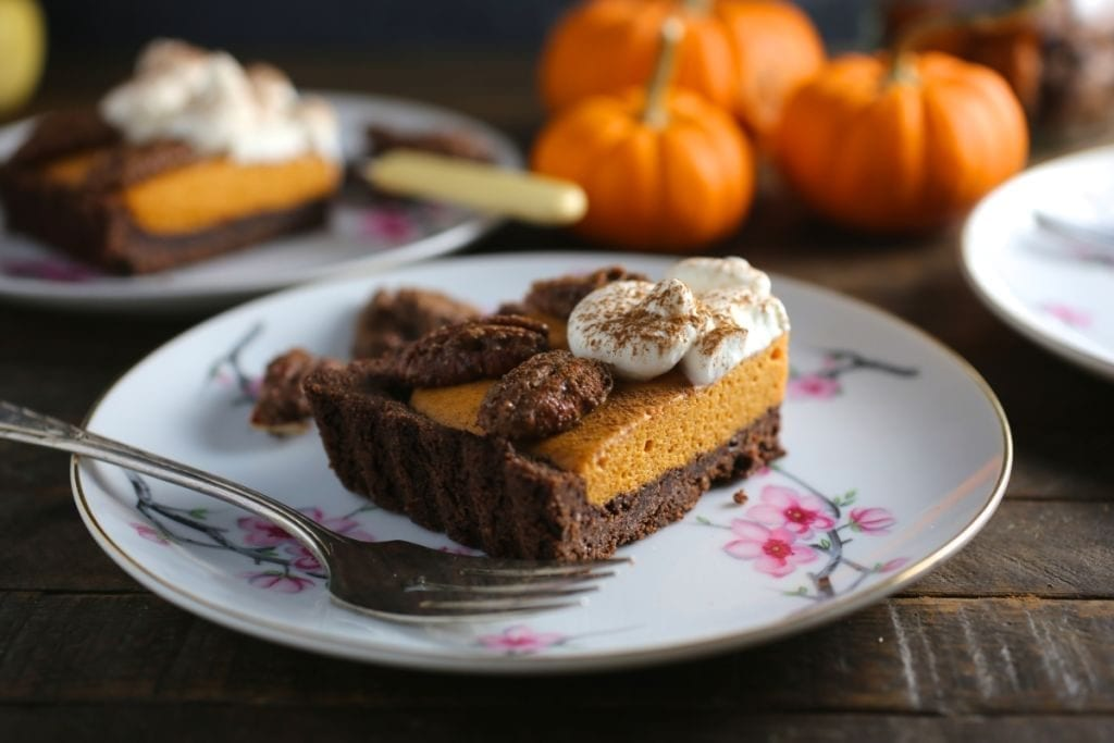 Bourbon Pumpkin Mousse Pie with Candied Pecans