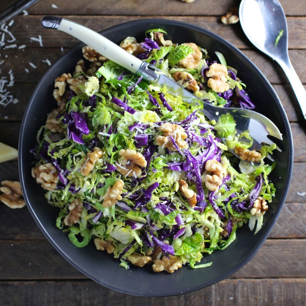 Shredded Brussels Sprout and Red Cabbage Salad with Walnuts and Pecorino