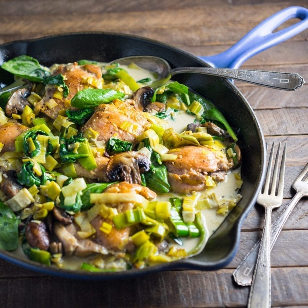 Chicken, Leeks and Spinach in a Creamy Wine Sauce