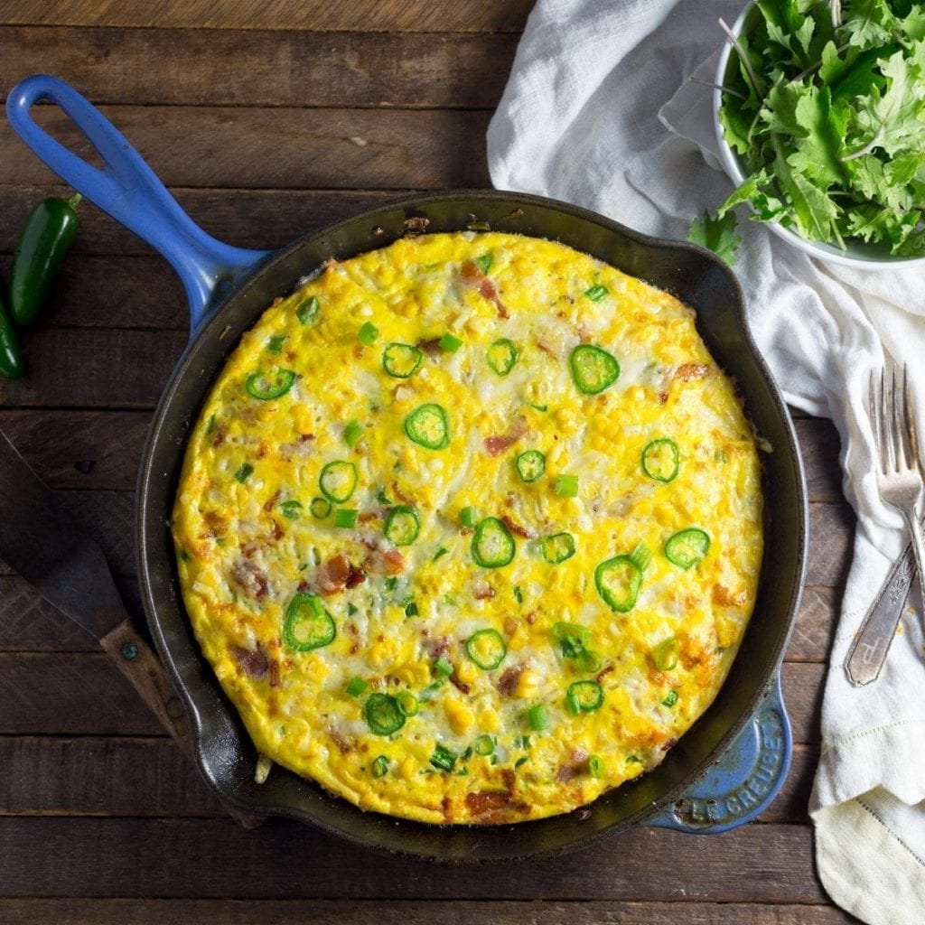Frittata with Bacon, Corn and Gruyere