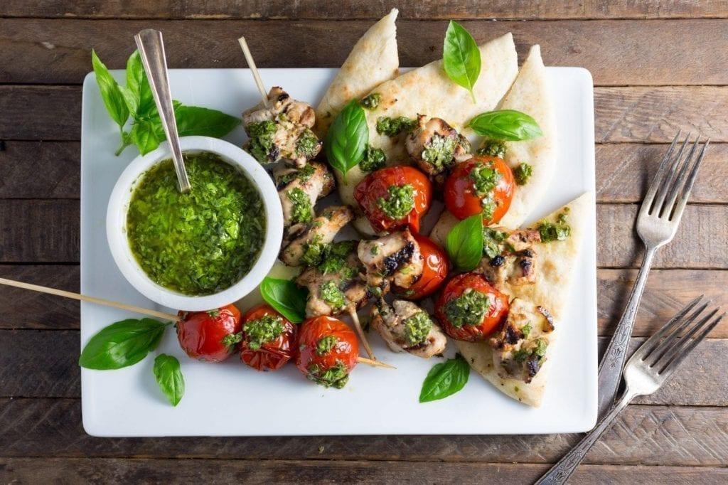 Lemon-Garlic Chicken and Tomato Kebabs with Basil Chimichurri