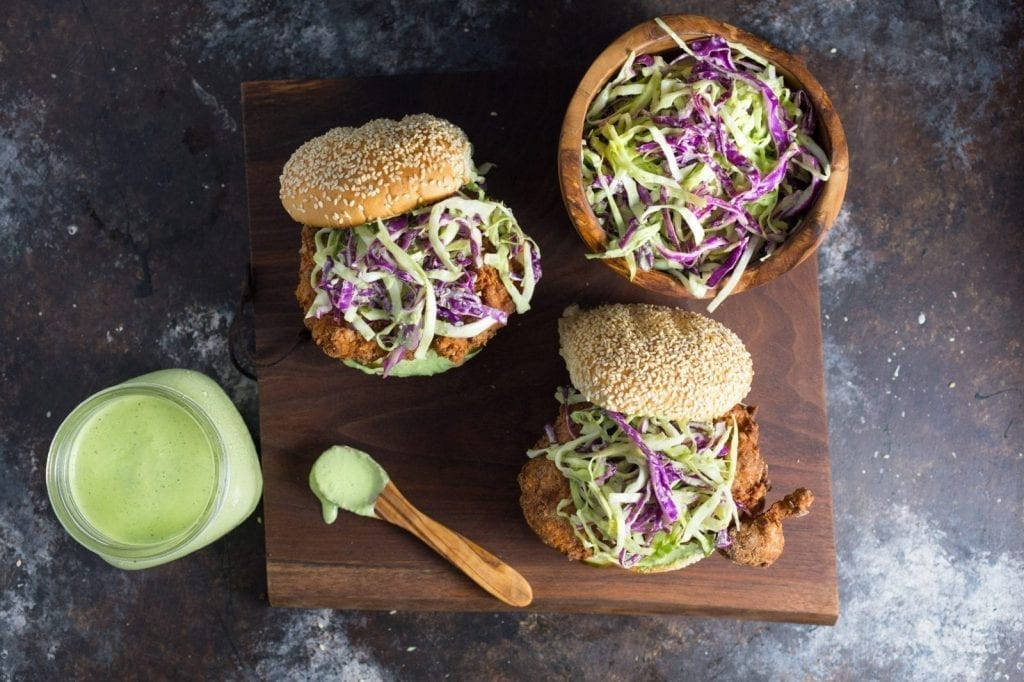 Ultimate Fried Chicken Sandwich with Basil Green Goddess Slaw