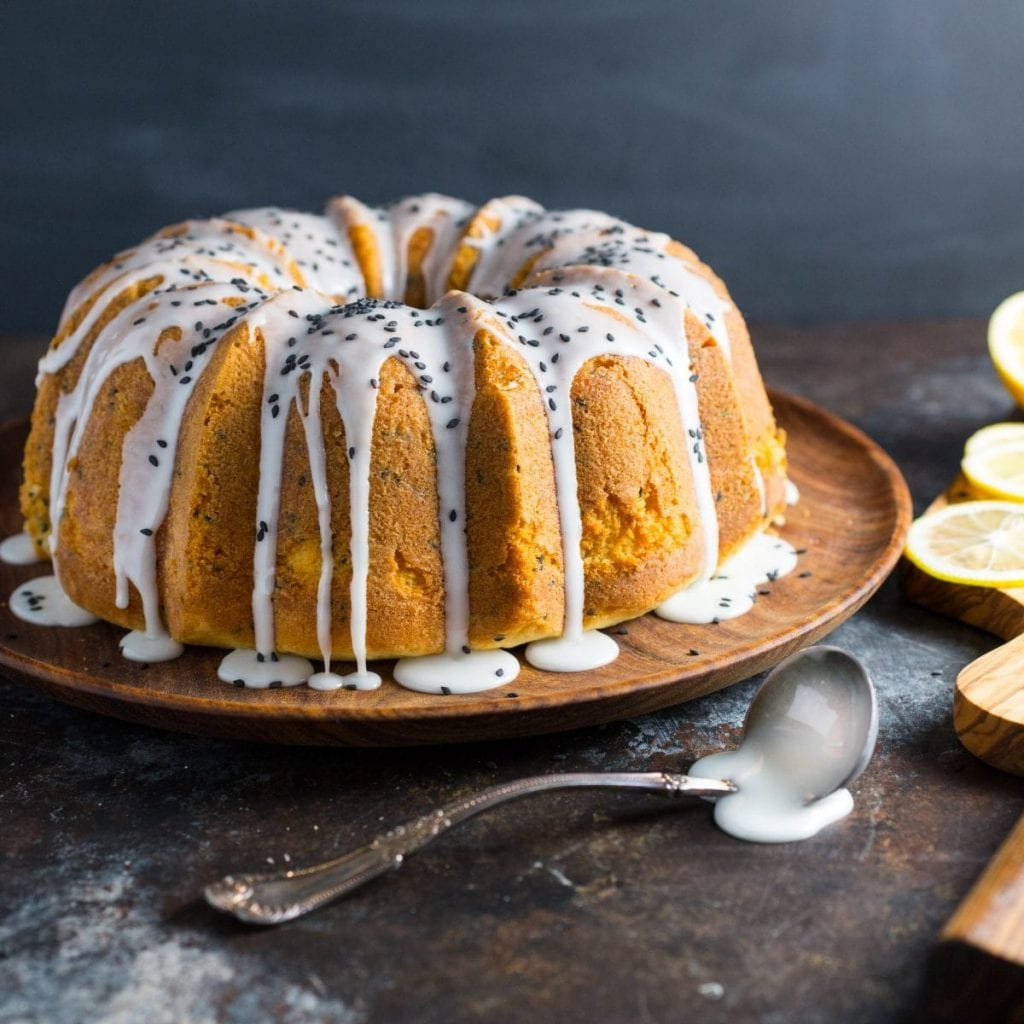 Lemon and Black Sesame Buttermilk Pound Cake